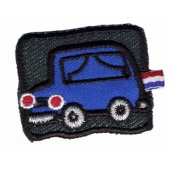 Iron-on patches Car blue on black background - 5pcs