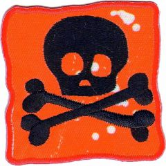 Iron-on patches flag with Skull red - 5pcs