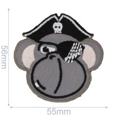 Iron-on patches pirate Monkey grey - 5pcs