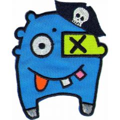 Iron-on patches monster with pirate hat - 5pcs