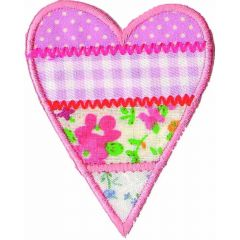 Iron-on patches heart fur pink - 5pcs