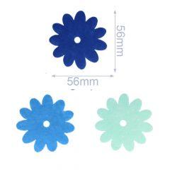 Iron-on patches Vilt 3 flowers blue - 5 sets