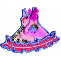Iron-on patches dress with flamingo - 5pcs