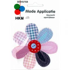 Iron-on patches flower large blue-pink with button - 5pcs