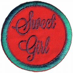 Iron-on patch button sweet girl - 5pcs