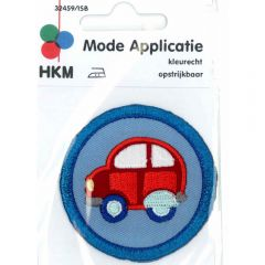 Iron-on patches red car in blue circle - 5pcs
