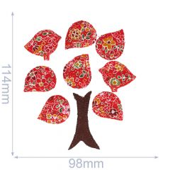 Iron-on patch tree with 2 birds - 5pcs