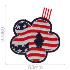 Iron-on patches US flag flower shaped - 5pcs