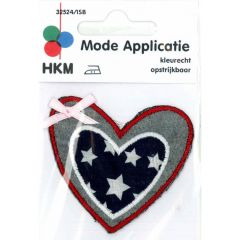 Iron-on patches heart US-colors with pink bow - 5pcs