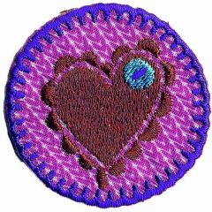 Iron-on patches heart on pink patch - 5pcs