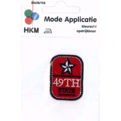 Iron-on patches Button 49th State red - 5pcs