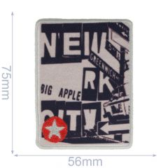 Iron-on patches black-beige with red star - 5pcs