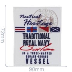 HKM Iron-on patch traditional royal navy 70x92mm - 5pcs