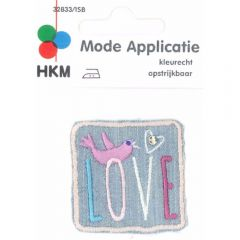 Iron-on patches Love with bird jeans - 5pcs