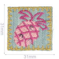 HKM Iron-on patch pineapple jeans 31x31mm - 5pcs