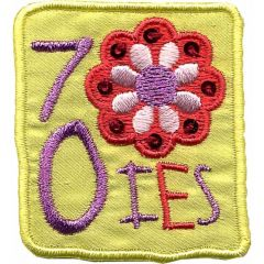 Iron-on patches Seventies yellow with flowers - 5pcs