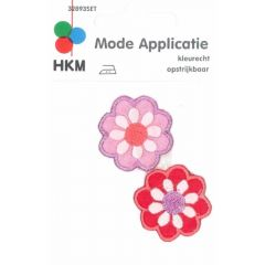 Iron-on patches Flowers lilac en red 2 pcs - 5 sets