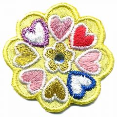 Iron-on patches flower yellow with hearts - 5pcs