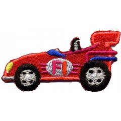 Iron-on patches race car small red - 5pcs