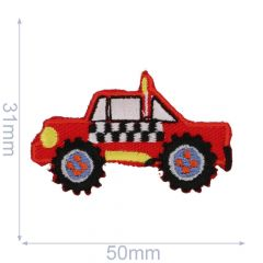 HKM Iron-on patch all-terrain vehicle 50x31mm red - 5pcs