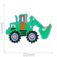 Iron-on patches Excavator green - 5pcs