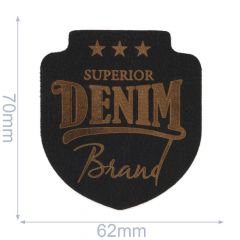 Iron-on patches Superior Denim leather lasered  - 5pcs