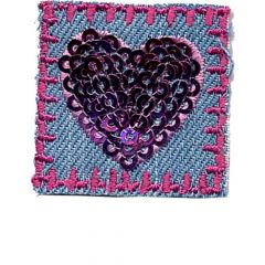 Iron-on patches hearts with sequins set 2 pcs - 5 sets