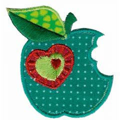 Iron-on patches green apple with heart - 5pcs