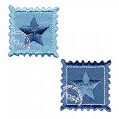 Iron-on patches Star on stamp set 2 pcs - 5 sets