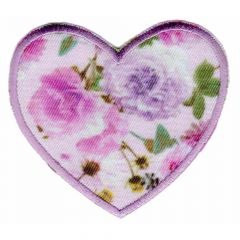Iron-on patches heart pink print - 5pcs