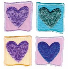 Iron-on patches heart set 4 pcs - 5 sets