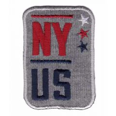 Iron-on patches NY US grey-red-blue - 5pcs