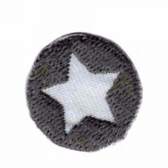Iron-on patches Button with star grey  - 5pcs