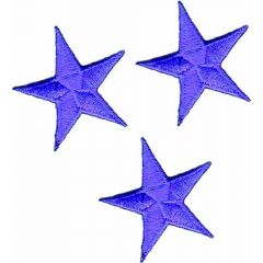 Iron-on patches star set purple 3 pcs - 5 sets