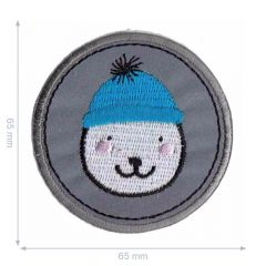 HKM Iron-on patch reflective bear with beanie - 5pcs