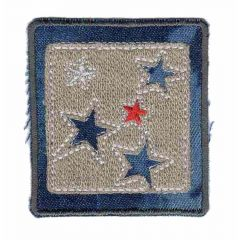Iron-on patches dark jeans square with stars  - 5pcs