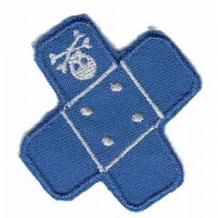 Iron-on patches Band-aid blue with skull - 5pcs