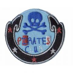 Iron-on patch button pirates club - 5pcs
