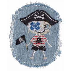Iron-on patch denim with pirate boy or girl - 5pcs