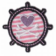 Iron-on patches Steering wheel with pink heart - 5pcs