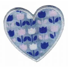 Iron-on patches heart with tulips  - 5pcs