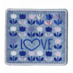 Iron-on patch square love with tulips - 5pcs