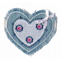 Iron-on patch heart denim with bow - 5pcs