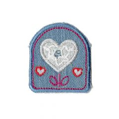 Iron-on patches Jeans with hearts - 5pcs