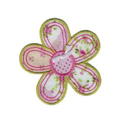 Iron-on patches flower with pink - 5pcs