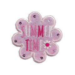 Iron-on patches flower pink jersey summer - 5pcs
