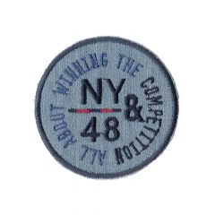 Iron-on patch button NY&48 on light denim jersey - 5pcs