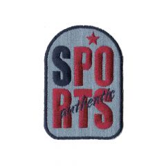Iron-on patch sports red on denim - 5pcs