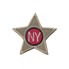 Iron-on patch star blue-beige NY - 5pcs