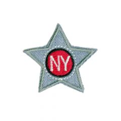 Iron-on patches star blue jeans NY - 5pcs